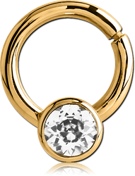 GOLD PVD COATED SURGICAL STEEL GRADE 316L JEWELED BALL CLOSURE RING