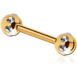 GOLD PVD COATED SURGICAL STEEL GRADE 316L JEWELED SATELLITE BARBELL