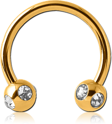 GOLD PVD COATED SURGICAL STEEL GRADE 316L MICRO CIRCULAR BARBELL WITH SATELLITE JEWELED BALLS