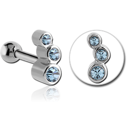 SURGICAL STEEL GRADE 316L TRIPLE JEWELED TRAGUS MICRO BARBELL
