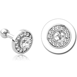 SURGICAL STEEL GRADE 316L JEWELED TRAGUS MICRO BARBELL- DISK