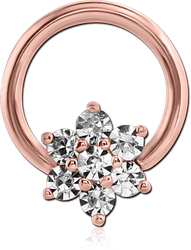 ROSE GOLD PVD COATED SURGICAL STEEL GRADE 316L ROUND PRONG SET JEWELED BALL CLOSURE RING