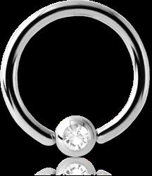 TITANIUM ALLOY SWAROVSKI CRYSTAL JEWELED BALL CLOSURE RING