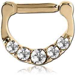 ZIRCON GOLD PVD COATED SURGICAL STEEL GRADE 316L ROUND SWAROVSKI CRYSTALS JEWELED HINGED SEPTUM