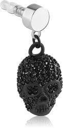 BLACK PVD COATED SURGICAL STEEL GRADE 316L JEWELED CHARM - SKULL