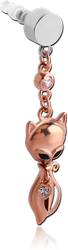 UV POLYMER MOBILE PHONE PLUG WITH ROSE GOLD PLATED BASE METAL JEWELED CHARM - CAT