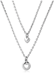 RHODIUM PLATED BASE METAL NECKLACE WITH PENDANT - HEARTS