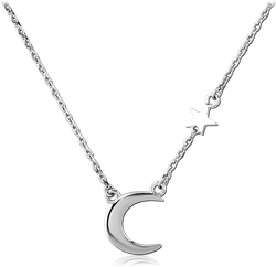 RHODIUM PLATED BASE METAL NECKLACE WITH PENDANT - MOON