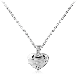 RHODIUM PLATED BASE METAL NECKLACE WITH JEWELED PENDANT - HEART