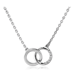 RHODIUM PLATED BASE METAL NECKLACE WITH JEWELED PENDANT - LOOP