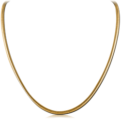 GOLD PVD COATED  STAINLESS STEEL GRADE 304 SNAKE NECK CHAIN 45CMS WIDTH 3.2MM