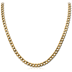 GOLD PVD COATED STAINLESS STEEL GRADE 304 FLAT CURB NECK CHAIN 40CMS