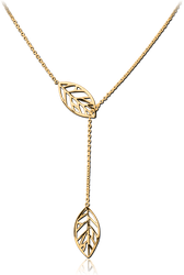 GOLD PVD COATED SURGICAL STEEL GRADE 316L JEWELED NECKLACE WITH PENDANT - LEAF