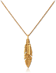 GOLD PVD COATED STERLING 925 SILVER NECKLACE WITH PENDANT - FEATHER