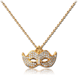 GOLD PVD COATED STERLING 925 SILVER JEWELED NECKLACE WITH PENDANT - MASK