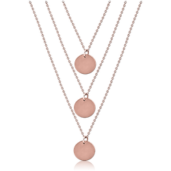 ROSE GOLD PVD COATED SURGICAL STEEL GRADE 316L NECKLACE WITH PENDANT - DISKS