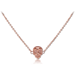 ROSE GOLD PVD COATED SURGICAL STEEL GRADE 316L NECKLACE WITH PENDANT - FANCY SKULL