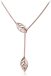 ROSE GOLD PVD COATED SURGICAL STEEL GRADE 316L JEWELED NECKLACE WITH PENDANT - LEAF