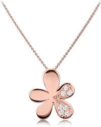 ROSE GOLD PVD COATED SURGICAL STEEL GRADE 316L JEWELED NECKLACE WITH PENDANT - FLOWER