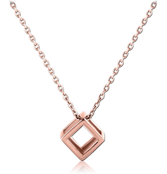 ROSE GOLD PLATED STERLING 925 SILVER NECKLACE WITH PENDANT