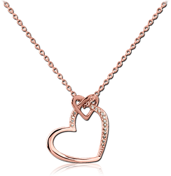 STERLING 925 SILVER ROSE GOLD PVD COATED JEWELED NECKLACE WITH PENDANT - TWO HEARTS