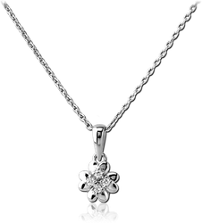 RHODIUM PLATED STERLING 925 SILVER JEWELED NECKLACE WITH PENDANT - HEART