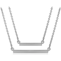 SURGICAL STEEL GRADE 316L NECKLACE WITH PENDANT - TWO SQUARE BARS