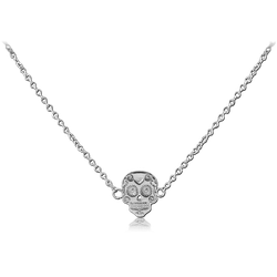 SURGICAL STEEL GRADE 316L NECKLACE WITH PENDANT - FANCY SKULL