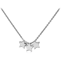 STERLING 925 SILVER NECKLACE WITH TREE TONE PENDANT - STARS