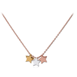 STERLING 925 SILVER NECKLACE WITH PENDANT GOLD PVD AND ROSE GOLD PVD COATED