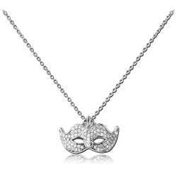 STERLING STERLING 925 SILVER 925 JEWELED NECKLACE WITH PENDANT - MASK