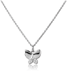 STERLING STERLING 925 SILVER 925 JEWELED NECKLACE WITH PENDANT - BUTTERFLY