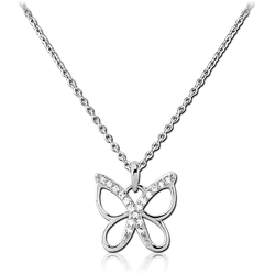 STERLING STERLING 925 SILVER 925 JEWELED NECKLACE - BUTTERFLY