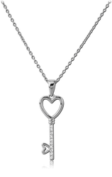 STERLING STERLING 925 SILVER 925 JEWELED NECKLACE WITH PENDANT - KEY WITH HEART