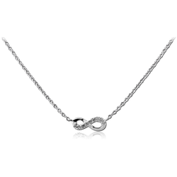 STERLING 925 SILVER JEWELED NECKLACE WITH PENDANT - INFINITY