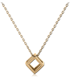 ZIRCON GOLD PVD COATED STERLING 925 SILVER NECKLACE WITH PENDANT - 3D BOX