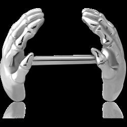 SURGICAL STEEL GRADE 316L NIPPLE EAR - SKELETON HANDS
