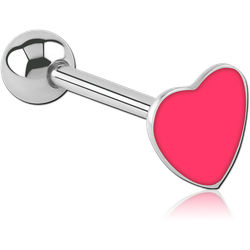 SURGICAL STEEL GRADE 316L ENAMEL HEART BARBELL