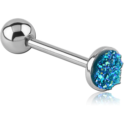 SURGICAL STEEL GRADE 316L FLAT DRUZY RESIN BARBELL