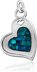 RHODIUM PLATED ORGANIC SYNTHETIC MOTHER OF PEARL MOSAIC CHARM - HEART