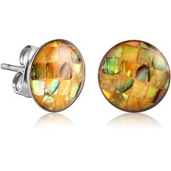 SURGICAL STEEL GRADE 316L ORGANIC SYNTHETIC MOSAIC MOTHER OF PEARL CUP EAR STUDS PAIR