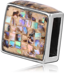 SURGICAL STEEL GRADE 316L ORGANIC SYNTHETIC MOTHER OF PEARL MOSAIC FLAT BEAD - SQUARE