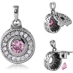 SURGICAL STEEL GRADE 316L JEWELED PENDANT