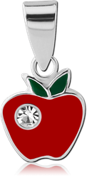 STERLING 925 SILVER JEWELED PANDENT - APPLE