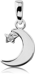 STERLING 925 SILVER JEWELED PANDENT - CRESCENT MOON WITH STAR