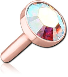ROSE GOLD PVD COATED SURGICAL STEEL GRADE 316L OPTIMA CRYSTAL JEWELED DISC FOR POLYMER INTERNAL LABRET