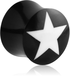 ORGANIC HORN DOUBLE FLARED PLUG WITH WHITE STAR INLAY