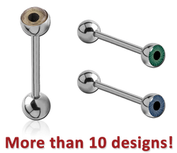 SURGICAL STEEL GRADE 316L DOUBLE EYEBALL BARBELL