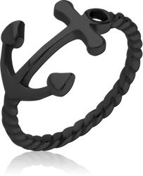 BLACK PVD COATED SURGICAL STEEL GRADE 316L RING - ANCHOR