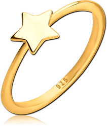 STERLING 925 SILVER GOLD PVD COATED RING - STAR